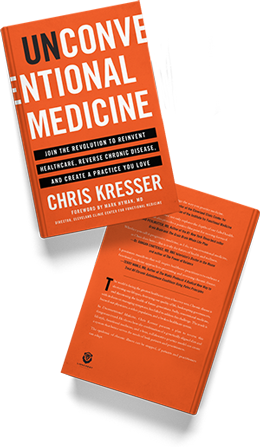 Bird's eye view of front and back cover of Unconventional Medicine book